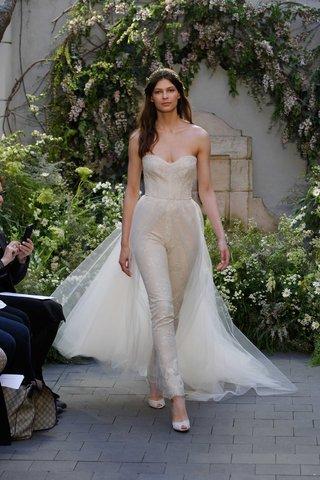 monique-lhuillier-spring-2017-presto-wedding-dress-jumpsuit-strapless-with-tulle-overskirt-train