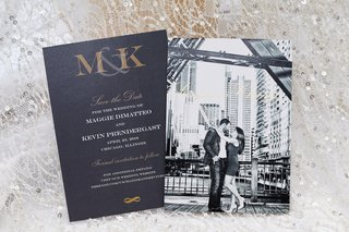 black-and-white-engagement-photo-on-elegant-save-the-date-card-for-black-tie-wedding