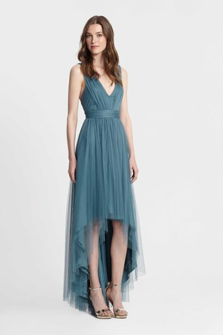 monique-lhuillier-bridesmaids-spring-2017-short-high-low-teal-blue-bridesmaid-dress-deep-v-neck