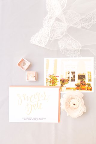 blush-gold-coral-save-the-date-card-ranunculus-flower-with-postcard-of-florida-venue