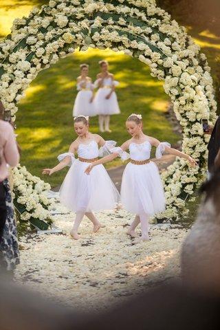 outdoor-wedding-ceremony-inspired-by-heaven-angels-ballerinas-ballet-dancers-on-flower-petal-aisle
