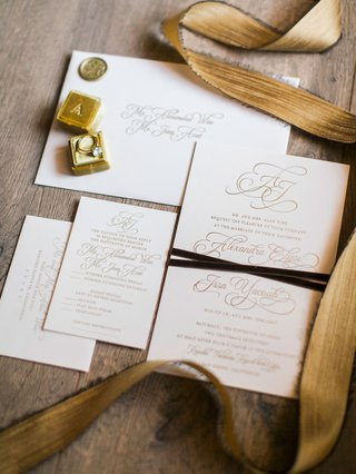 wedding-invitation-suite-white-ivory-stationery-with-gold-foil-calligraphy-gold-lettering-script
