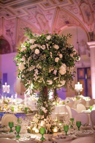round-wedding-centerpieces-with-lots-of-greenery-and-white-flowers