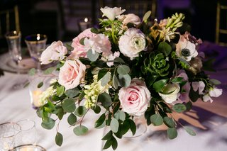 wedding-reception-centerpiece-greenery-succulent-eucalyptus-pink-roses-ranunculus-white-anemone
