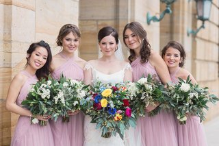 bride-white-bridesmaids-pastel-pink-light-dresses-wedding-dayton-ohio-colorful-bouquet-style