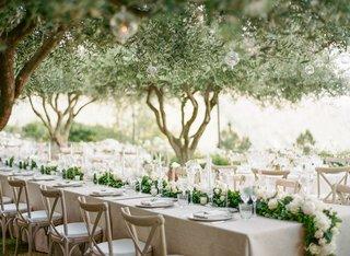 wedding-reception-in-garden-outdoor-wedding-green-garland-white-flowers-vineyard-chairs-trees-orbs