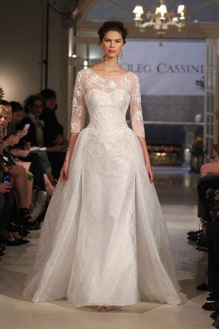 three-quarter-sleeve-illusion-wedding-dress-with-overskirt-by-oleg-cassini-ciara-bridal-gown-inspo