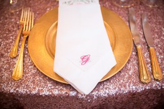gilt-place-setting-custom-napkins-initial-southern-wedding-feminine-sequins-charger-silverware