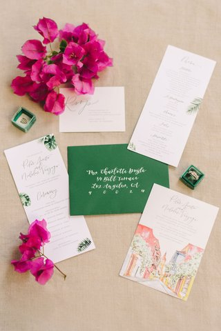 wedding-invitation-green-envelope-white-calligraphy-pink-bougainvillea-watercolor-design-palm-prints