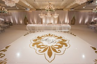 wedding-reception-dance-floor-with-couples-monogram-damask-print-in-gold-at-montage-laguna-beach