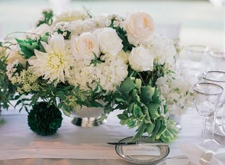 wedding-centerpiece-in-silver-bowl-with-dahlia-rose-and-hydrangea