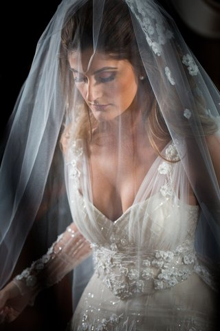 wedding-portrait-bride-in-wedding-dress-v-neck-illusion-tulle-veil-over-face-long-hair-down-flowers