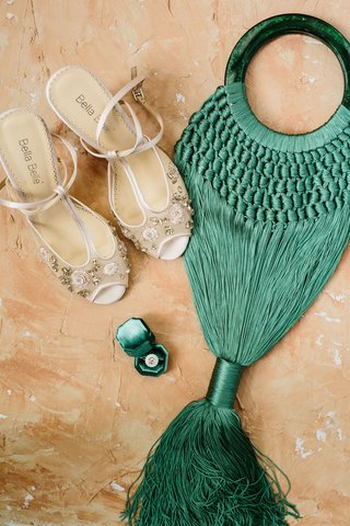 wedding-shoes-sheer-peep-toe-heels-embellishments-tassel-bag-purse-ring