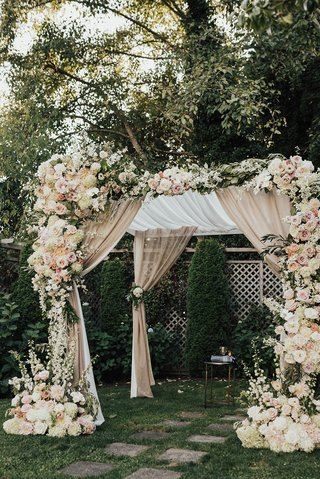 wedding-ceremony-structure-chuppah-champagne-drapery-white-pink-peach-orange-rose-hydrangea-flowers