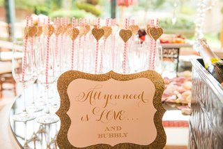 wedding-shower-mimosa-bar-with-glittery-gold-sign-all-you-need-is-love-and-bubbly