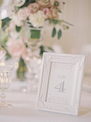 wedding-reception-table-number-in-a-ceramic-white-frame