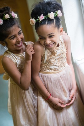 flower-crowns-gold-champagne-flower-girl-dresses-halo-gold-sequins-pink-skirts