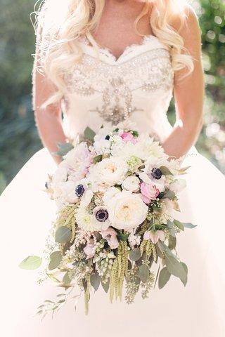 bride-held-classic-rustic-bouquet-pink-ranunculus-anemone-amaranthus-dahlia-garden-rose-verdure