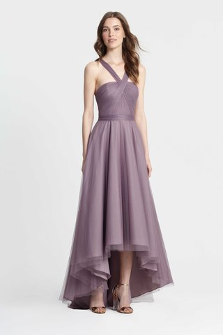 monique-lhuillier-bridesmaids-spring-2017-purple-high-low-bridesmaid-dress-cross-straps-in-front