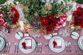 pink-table-linens-white-china-red-and-dark-purple-flower-arrangement-rose-rustic-romantic
