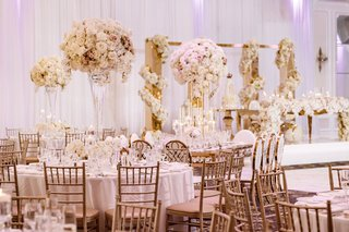 wedding-reception-royal-wedding-ideas-white-soft-pink-centerpiece-gold-chairs-accents-on-tables