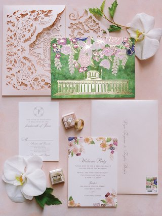 pink-laser-cut-envelope-watercolor-invitation-with-gold-foil