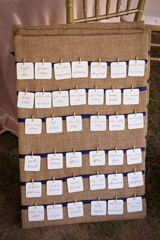 burlap-seating-chart-for-rustic-wedding-miniature-clothespin-details-on-ivory-cards