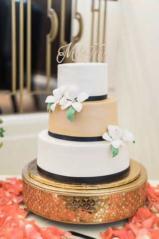 wedding-cake-with-three-layers-black-ribbon-white-gold-tier-sugar-flowers-mr-and-mrs-cake-topper