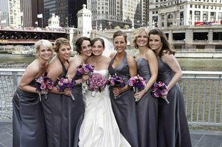 bride-with-lilac-grey-bridesmaids-by-chicago-river