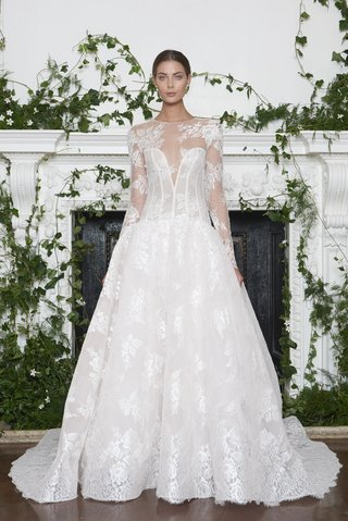 monique-lhuillier-fall-2018-lace-illusion-neckline-dropped-waist-ball-gown-detachable-long-sleeves