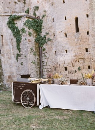 wedding-reception-at-old-12th-century-abbey-fried-italian-food-cart-station-italy