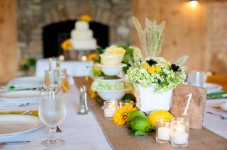 white-reception-table-with-burlap-runner-and-wood-table-number