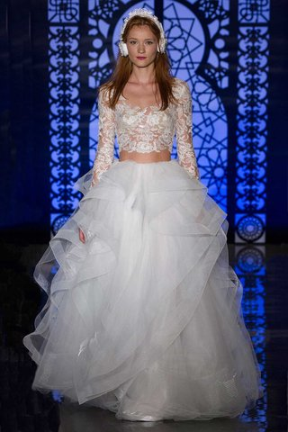 reem-acra-bridal-fall-2016-two-piece-sheer-illusion-long-sleeve-top-with-ruffle-ball-gown-skirt