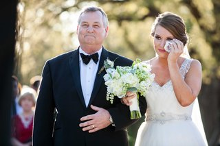 bride-in-nardos-iman-wedding-dress-with-belt-and-rustic-bouquet-with-father-of-bride-in-bow-tie