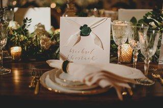 wedding-reception-custom-menu-card-with-wax-seal-white-ribbon-gold-calligraphy-napkin-ring-emerald