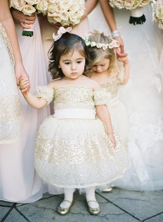 gold-sequin-flower-girl-dress-and-ballet-flats