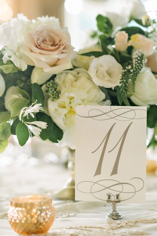 wedding-table-number-on-linen-with-low-flower-arrangement-pink-rose-ivory-garden-rose-flowers