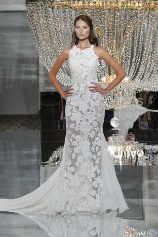 pronovias-fall-2018-high-neck-wedding-gown-floral-embroidery-sheer-accents