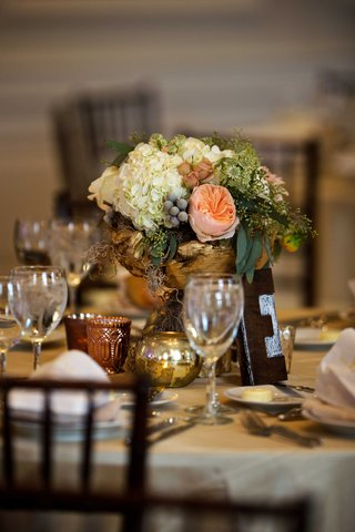 gold-rustic-wedding-centerpiece-with-white-hydrangea-pink-rose-and-greenery-letter-block-letter