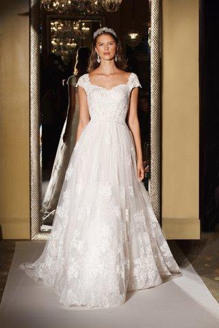 oleg-cassini-davids-bridal-wedding-dress-lace-ball-gown-applique-short-cap-sleeve-natural-waist