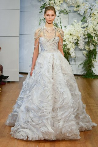 monique-lhuillier-spring-2018-bridal-collection-wedding-dress-isabella-ball-gown-rose-skirt-drape