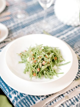 bridal-shower-menu-snow-pea-chiffonade-with-pancetta-pecorino-mint-salad-course-blue-white-batik