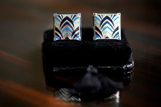 grooms-cuff-links-with-a-blue-art-deco-design