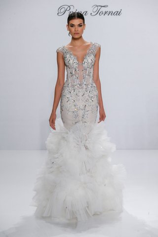 pnina-tornai-for-kleinfeld-2017-dimensions-collection-mermaid-wedding-dress-tulle-ruffle-skirt-beads