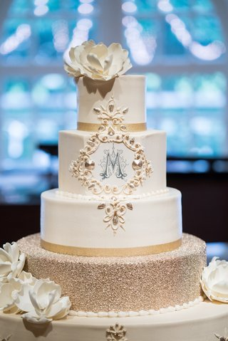four-layer-cake-with-glitter-tier-sugar-flowers-m-monogram