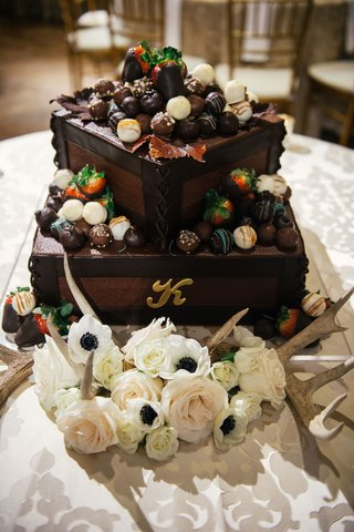 grooms-cake-with-letter-k-initial-monogram-brown-frosting-chocolate-covered-strawberries-on-top