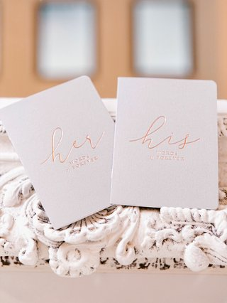 wedding-gift-ideas-vow-books-for-bride-and-groom-rose-gold-foil-modern-calligraphy