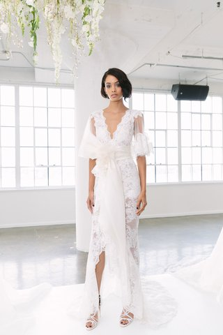 marchesa-bridal-fall-2018-collection-wedding-dress-v-neck-high-low-lace-gown-flower-sash