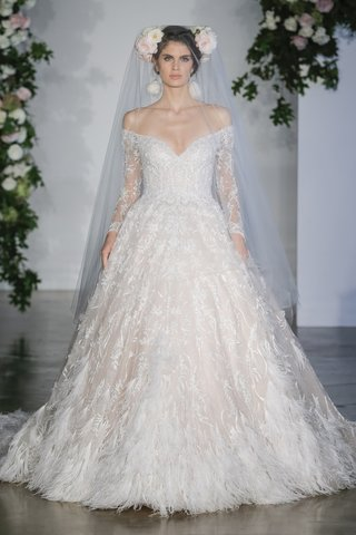 morilee-fall-2018-tulle-ball-gown-off-the-shoulder-long-sleeves-lace-feathered-hemline