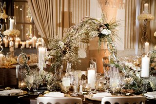 wedding-reception-unique-modern-decor-white-flowers-greenery-chain-centerpiece-metallic-details